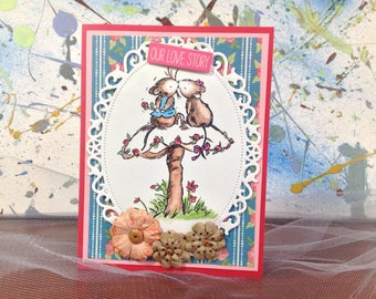 Our love story card, cards for the one you love, card with cute mice