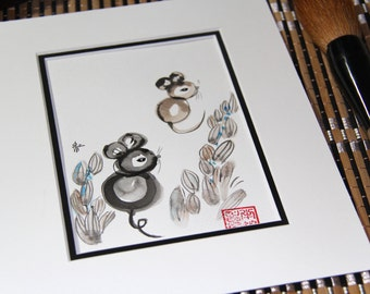Birthday gift, Chinese Zodiac, baby shower, water colour painting, Original Sumi Ink Painting, Chinese zodiac, feng shui,