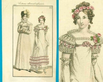 Antique 1817 Regency ball gown fashion print redingote pelisse bonnet shoes Costume Parisien