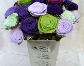 Made to order felt flower bouquet, dozen felt roses, dozen felt flowers