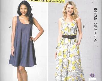 Misses Scoopneck Tent Dresses, Sizes XS Thru XL, New Kwik Sew Pattern 4172