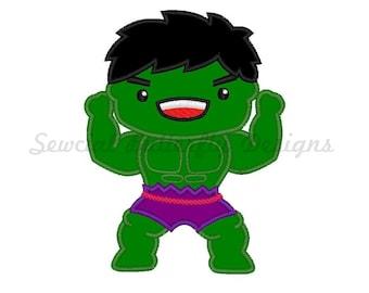 "Hulk inspired applique machine embroidery design- 3 sizes 4x4"", 5x7"", 6x10"""