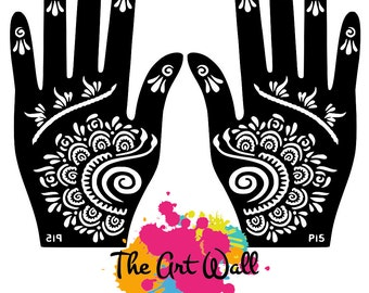 2 Hands Side wave Stencils for Henna and Glitter temporary tattoo body art