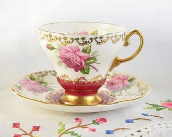 Rose Foley tea cup and saucer, rose tea cup, pink tea cup