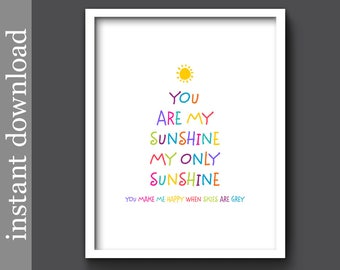 You Are My Sunshine, nursery printable, colorful nursery art, nursery wall art, baby shower gift, children's art, nursery decor, baby decor