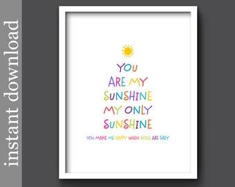 You Are My Sunshine, nursery printable, colorful nursery art, nursery wall art, baby shower gift, children's art, nursery decor, baby decor