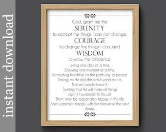 Full Serenity Prayer, serenity printable, inspiration print, encouragement, AA support, emotional support, digital download, serenity print