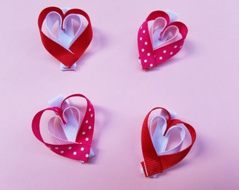 Two Heart Hairclips--Ribbon Sculpture