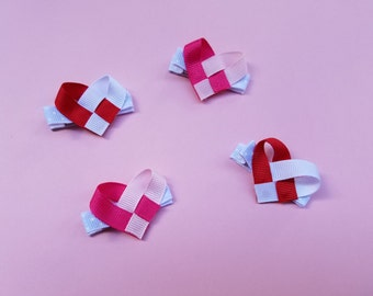 Two Weaved Heart Ribbon Sculpture Valentines Day Hairclips--Girl's Hairclips