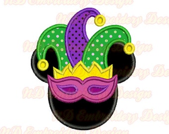 Mickey Mouse Applique, Mardi Gras Jester mask Mickey Face Embroidery Design,  ms-132