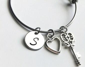 Key To My Heart handstamped adjustable bangle bracelet