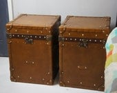 Pair of Bed Side Leather Cabinets Trunks In Tan Leather