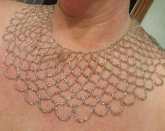 Vintage bib necklace beaded silver glass
