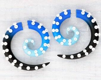 Octopus Plugs, Spiral Ear Gauges, Fake Plugs, Tentacle Earrings, Fake Gauges, Beach Ear Plugs, Faux Gauges, Octopus Earrings, Spiral Gauges