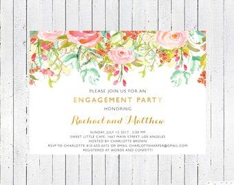 Engagement Invitation Printable, Engagement Invites, Engagement Party Invitation, Engagement Card, Floral, Elegant, Gold, Custom, PDF, JPEG