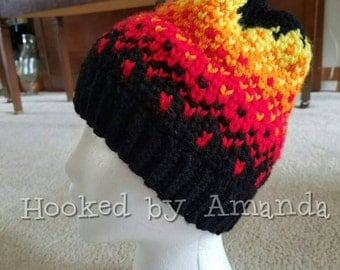 On Fire crochet beanie / hat