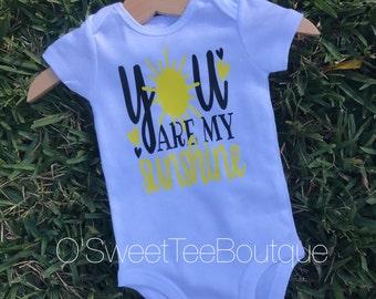 You are my Sunshine Onesie/ Baby Girl Sunshine/ Sun/ Yellow/ Baby/