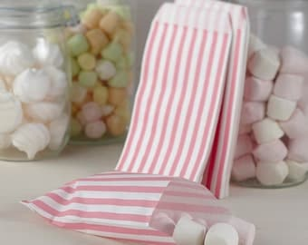 Pink and White Candy Striped Bags, Candy Bags, Sweet Bags, Party Bags, Favour Bags, Favor Bags, Party Supplies, Wedding Decorations, Bags