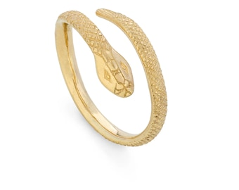 9ct Yellow Gold Serpent, Snake Crossover Ring