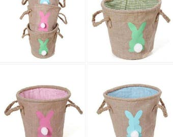 Burlap Easter  Bucket with Cotton Tail