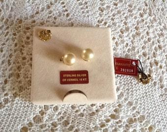 MAJORICA 18KT pearl stud earrings In sealed box,vermeil/sterling silver posts, bridal, wedding Valentines Day, anniversary, birthday, Spain