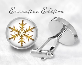 Snowflake Cufflinks - Golden Snowflake Cufflinks - Snow Cufflink - Christmas Cufflinks - Holiday Cuff Link (Pair) Lifetime Guarantee (S0508)