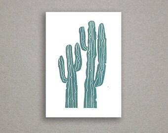 Cactus Linoleum Block Print