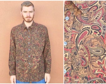 Vintage Brown Paisley Shirt sz XL ~ Long Sleeve Button Front ~ Hippie Disco Psychedelic Trippy ~ Retro Floral All Over ~ 24502 ~ SIze XL