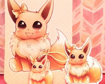 Cute Eevee Mini Set w/Acrylic Charm, Sticker, & Print