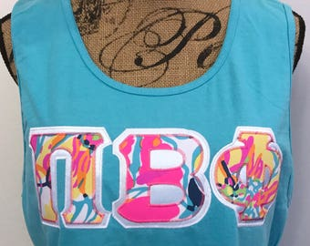 lilly pulitzer vera bradley other greek letter shirt any letters comfort colors tank top cotton t shirt great for swim cover up