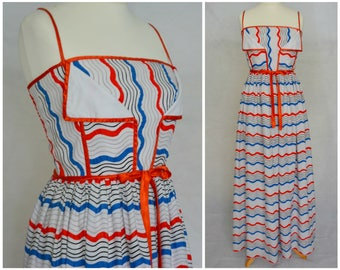 Vintage Retro 1970s Cotton Maxi Dres Spriped Red White and Blue Size 12 M