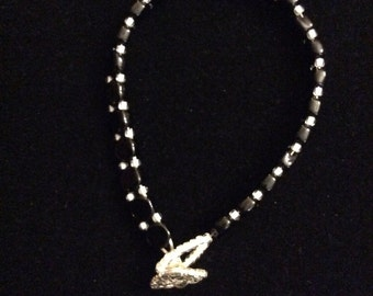 Black hexagon  beaded bracelet