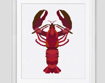 Cross stitch pattern, Lobster counted cross stitch, Lobster cross stitch pattern, Lobster cross stitch pdf pattern