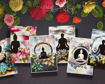 Bouddha card set 5 meditation greeting cards by Marika Lemay mixed media artist to bring calm and zen ambiance in your home for your friends