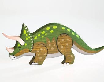 Wooden Triceratops toy Dinosaur figurine Play Set for boys Pre-historic animals Pretend play Learning toys for toddlers