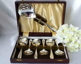 Vintage Dessert Spoons, Silverplated Dessert Spoons, Vintage Cutlery Set, Vintage Tableware, Original Case, c 1960 s