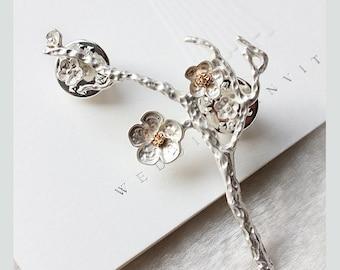 Victorian Plum Blossom Carved Silver Bar Pin Brooch, Cherry Blossom Brooch,Flowers sakura blossom brooch,Wedding Accessories Gifts For Her