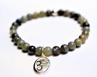 Labradorite beaded crystal bracelet with sterling silver om charm
