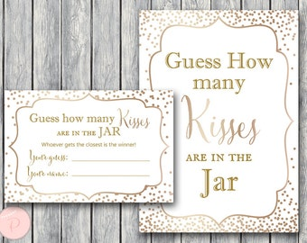 Gold Confetti Guess How Many Kisses, Bridal Shower Games, Rustic Mason Jar, Gold Bridal Shower Guessing Game, Bachelorette Game wd93 TH62