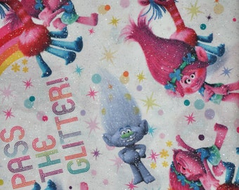 New!  1/2 Yard of Trolls - Pass The Glitter 100 % Cotton Quilt fabric by Springs Creative