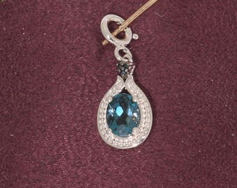 London Blue Topaz Pendant. Vintage, Estate 1980s. Sterling Silver/SS 925, Cute   et176