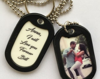 Custom Keychain or Necklace with your Photo & Personal Message