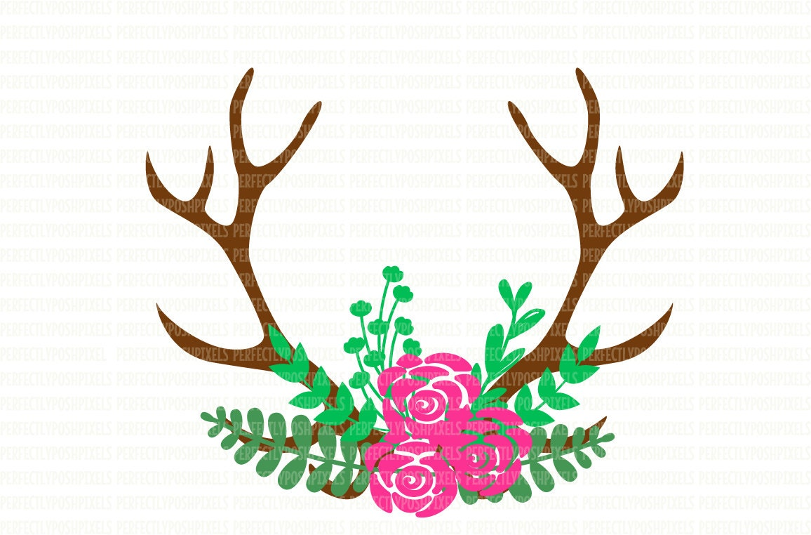 Antler floral swag svg silhouette cameo cricut design space