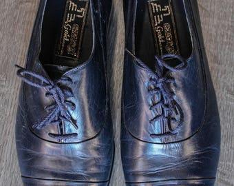 Vintage Mens Ennesi Gold Navy Blue Leather Oxfords