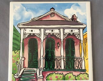 "Little Pink Shotgun House 6"" x 6"" Porcelain Tile"