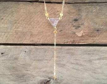 Druzy Triangle Lariat Necklace