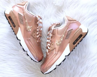 Nike Air Max 90 SE Leather Shoes Made with SWAROVSKI® Crystals - White/Metallic Rose Gold