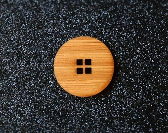 6x Window Button - Bamboo (big wooden buttons, coat cardi jacket buttons, minimalist, timber, wood, dressmaking, diy, sewing, craft, round)