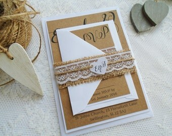 Hessian and lace wedding invitation, rustic burlap and classic lace with bellyband and tag