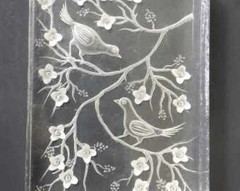 Beautiful Clear Lucite 'picture' with reverse carved birds & blossom. c 1940s So pretty!!!
